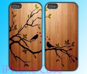 custom iPhone 4 case Couple love case Birds Song