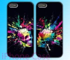 custom iPhone 4 case Couple love case Colorful Skull