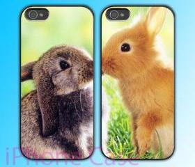 custom iPhone 4 case Couple love case Cute Rabbit Kiss