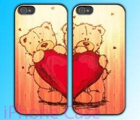 custom iPhone 4 case Couple love case Love Bear