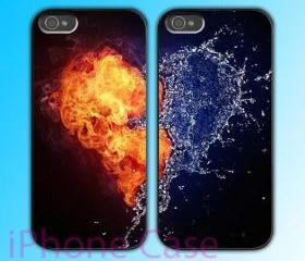 custom iPhone 4 case Couple love case Love between fire and water