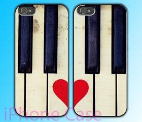 custom iPhone 4 case Couple love case Love Piano