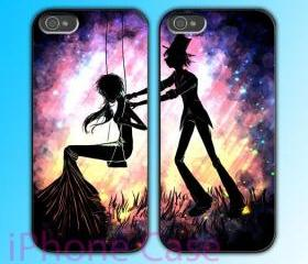 custom iPhone 4 case Couple love case Love Swing