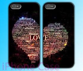 custom iPhone 4 case Couple love case Love Words