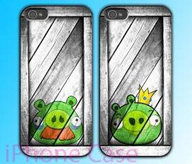 custom iPhone 4 case Couple love case Pig Angry Birds