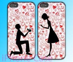 custom iPhone 4 case Couple love case Propose to marriage