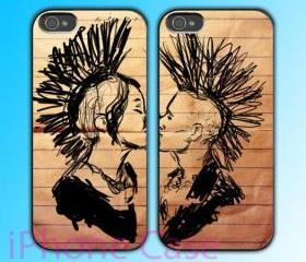 custom iPhone 4 case Couple love case Punk In Love