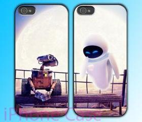 custom iPhone 4 case Couple love case Wall-E And Eve