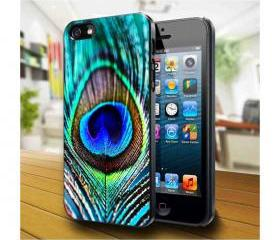 peacock feather Design available iPhone 4, iPhone 4S and iPhone 5 case - Black, white and Clear